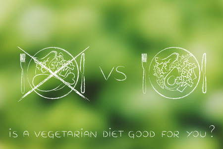alternative meals with meat option crossed out, concept of choosing to go for a vegeterian diet