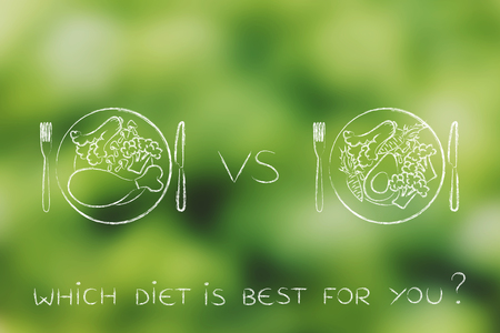 whether: alternaive meals with and without meat, concept of choosing whether to go for a vegeterian diet or not Stock Photo