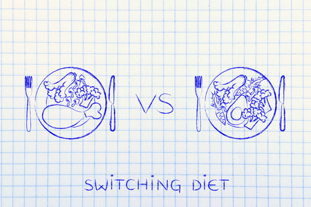 vegeterian: alternaive meals with and without meat, concept of choosing whether to go for a vegeterian diet or not Stock Photo