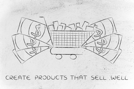 oversize: shopping cart full of products with oversize cash surrounding it, concept of consumerism or highly profitable marketing campaigns that sell well