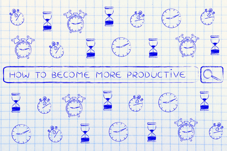 how to: search bar surrounded by clocks and alarms icon with tags about how to be more productive & time management Stock Photo