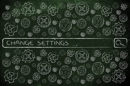 configure: search bar surrounded by gearwheels icon with tags about how to change or configure the settings of your devices