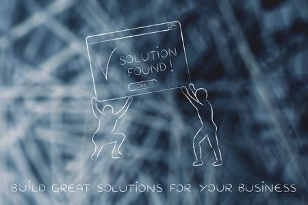 team lifting up a pop-up message with Solution Found, concept of business intelligence and decision support systems Stock Photo
