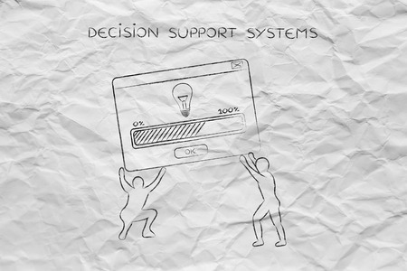 popup: team lifting up a pop-up message with Solution or Idea (lightbulb), concept of business intelligence and decision support systems Stock Photo