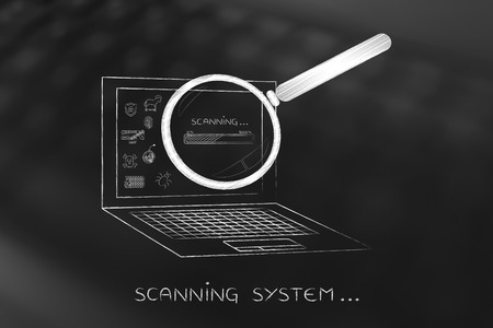 adware: laptop being analyzed by magnifying glass for viruses or other threats with progress bar, concept of antivirus system scan