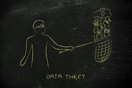 data theft: masked man stealing files falling off a cloud with download arrow icon, concept of data theft and unauthorized access
