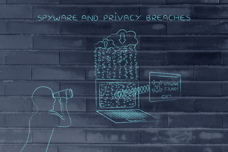 adware: man with binoculars spying on data trasmission from a laptop to cloud and pop-up with Spyware found message