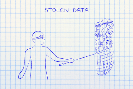 data theft: masked man stealing files falling off a cloud with lock & chain, concept of data theft and unauthorized access Stock Photo