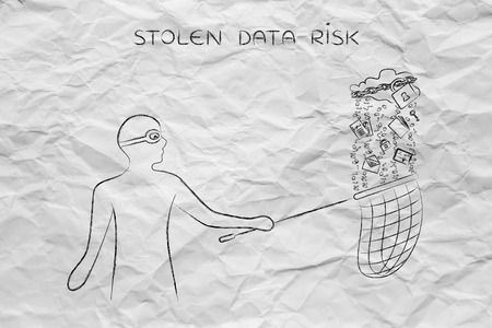 unauthorized: masked man stealing files falling off a cloud with lock & chain, concept of data theft and unauthorized access Stock Photo