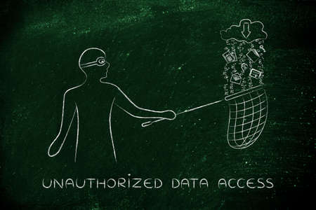 unauthorized: masked man stealing files falling off a cloud with download arrow icon, concept of data theft and unauthorized access