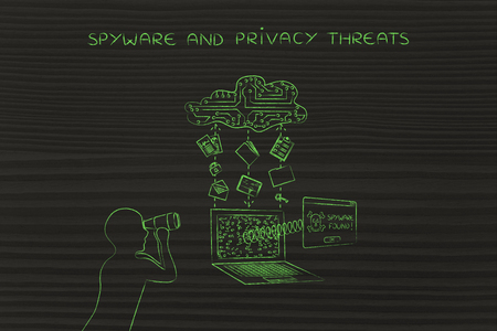 adware: man with binoculars spying on data trasmission from a laptop to cloud, concept of spyware and malware threats Stock Photo