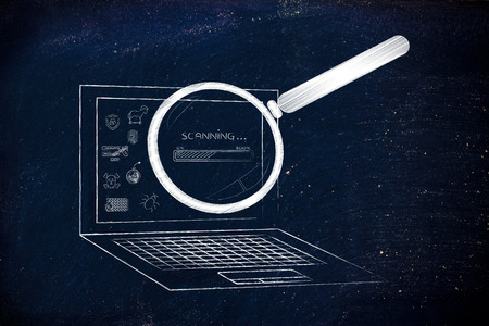 analyzed: laptop being analyzed by magnifying glass for viruses or other threats with progress bar, concept of antivirus system scan
