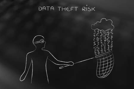 unauthorized: masked man stealing files falling off a cloud with binary code rain, concept of data theft and unauthorized access