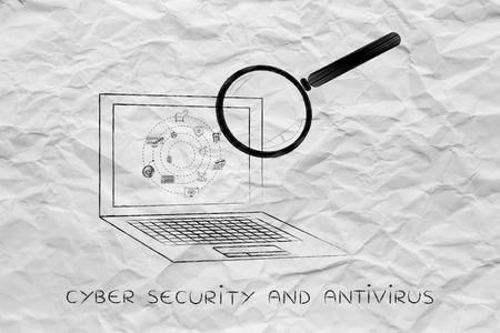 adware: laptop being analyzed by magnifying glass for viruses or other threats, concept of antivirus system scan