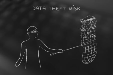 masked man stealing files falling off a cloud with lock & chain, concept of data theft and unauthorized access Stock Photo