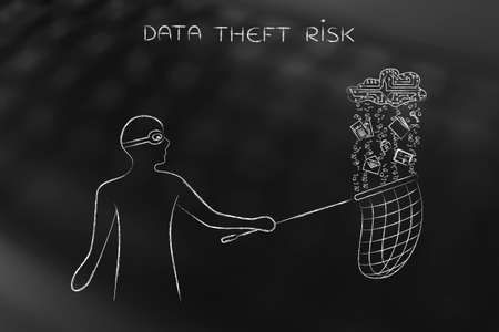 data theft: masked man stealing files falling off a cloud made of electronic circuits, concept of data theft and unauthorized access