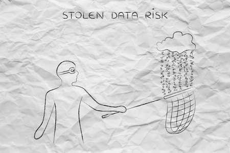data theft: masked man stealing files falling off a cloud with binary code rain, concept of data theft and unauthorized access