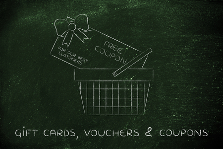 rebate: shopping basket with huge rebate coupon for a free purchase