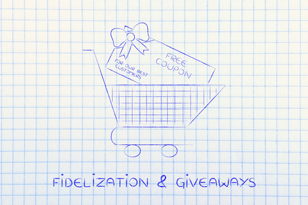 rebate: shopping cart with huge rebate coupon for a free purchase