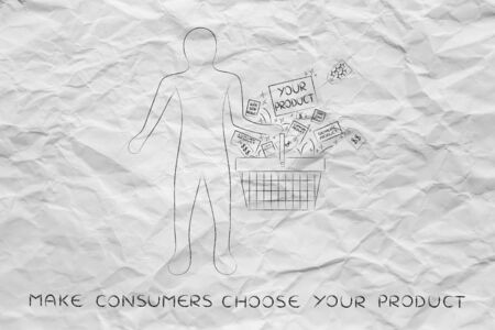 competitive advantage: client holding shopping basket & packaging with text Your Product among other items from the competition, concept of competitive advantage and pricing