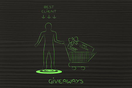rewarding: man with shopping cart with huge gift card and sing Best Client above him, concept of rewarding customer loyalty Stock Photo