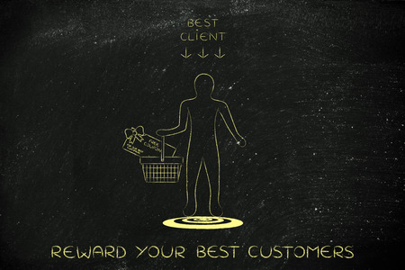 rewarding: man holding shopping basket with huge gift card and sing Best Client above him, concept of rewarding customer loyalty Stock Photo