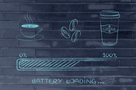 tumbler: coffee cup, beans & tumbler with funny energy progress bar loading, awakeness-related concept