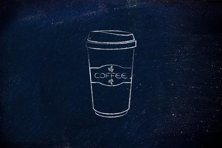 chalk outline: coffee tumbler chalk outline illustration
