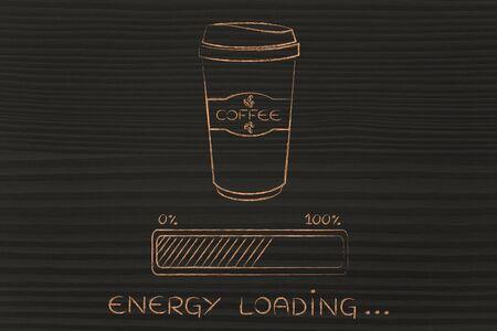 Coffee Tumbler With Funny Awakeness Related Progress Bar Loading