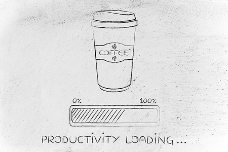 tumbler: coffee tumbler with funny progress bar Productivity loading, awakeness-related concept
