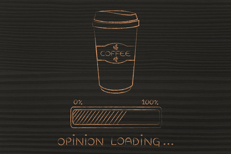 tumbler: coffee tumbler with funny progress bar Opinion loading, awakeness-related concept Stock Photo