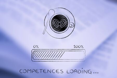 competences: latte art coffee cup with funny progress bar Competences loading, awakeness-related concept Stock Photo