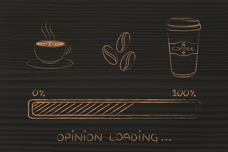 opinions: coffee cup, beans & tumbler with funny progress bar loading awakeness-related concept, caffeine helping express opinions Stock Photo