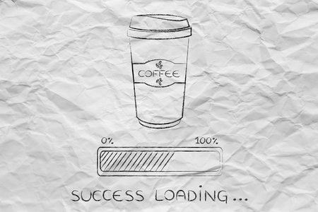 tumbler: coffee tumbler with funny awakeness-related progress bar loading success