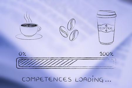competences: coffee cup, beans & tumbler with funny progress bar loading awakeness-related concept, caffeine helping competences Stock Photo