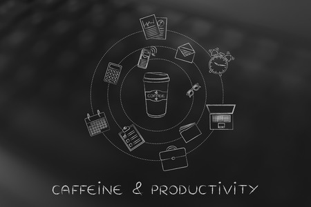 coffee tumbler surrounded by mixed office life themed objects, concept of caffeine effects on productivity and multitasking