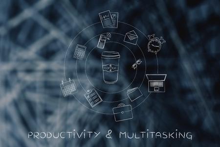 vaso de precipitado: vaso de café rodeado de objetos vida de oficina temáticas mixtos, el concepto de efectos de la cafeína sobre la productividad y multitarea Foto de archivo