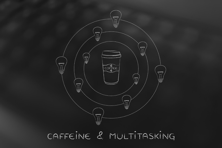 inventiveness: caffeine & efficiency: coffee tumbler surrounded by spinning lightbulb ideas