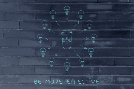 inventiveness: caffeine & efficiency: coffee tumbler surrounded by ideas (lightbulbs), arrows out version Stock Photo