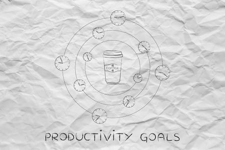 caffeine: caffeine & productivity: coffee tumbler surrounded by spinning clocks