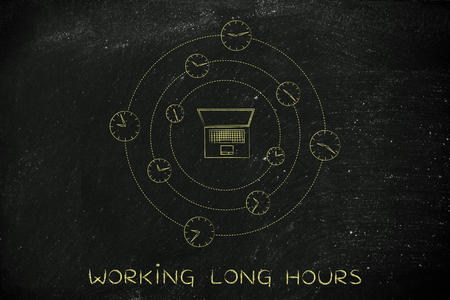 long hours: laptop surrounded by spinning clocks, concept of working long hours Stock Photo