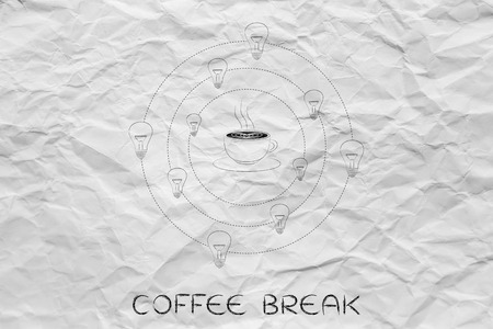 caffeine: caffeine & efficiency: coffee cup surrounded by spinning lightbulb ideas