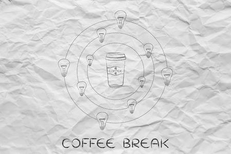 caffeine: caffeine & efficiency: coffee tumbler surrounded by spinning lightbulb ideas