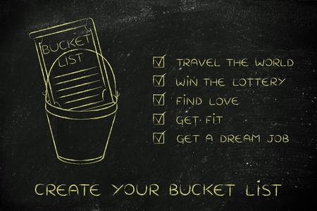 common goals: bucket list of common lifestyle dreams and goals, ticked off version