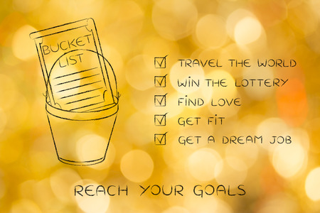bucket list of common lifestyle dreams and goals, ticked off version