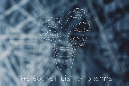 find a niche and promote a profitable product: bucket list of business-related success dreams of the typical entrepreneur Stock Photo