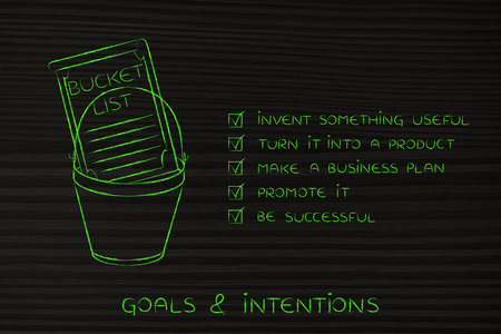 entrepreneurial: bucket list of entrepreneurial success dreams: invent something useful to turn into a profitable product (checklist version) Stock Photo