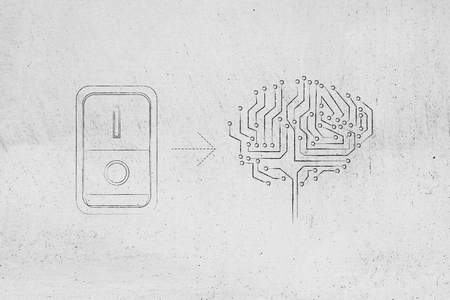 elaboration: artificial circuit brain with leds and switch turned on, concept of activating intuition or creativity