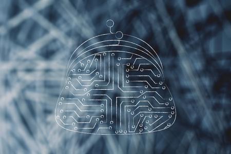circuitos electronicos: Ilustración digital de pago con monedero de la moneda hecha de circuitos electrónicos