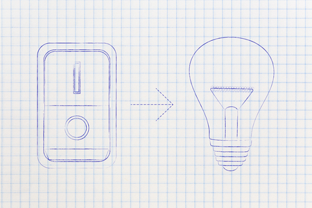reasoning: idea lightbulb with switch turned on, concept of activating solutions or imagination